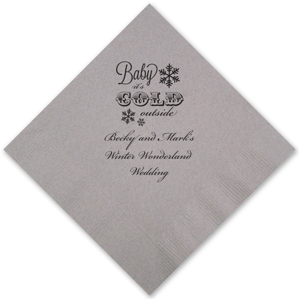 Silver cocktail napkins with black imprint with CS1112 design and three lines of text in Stylish lettering style
