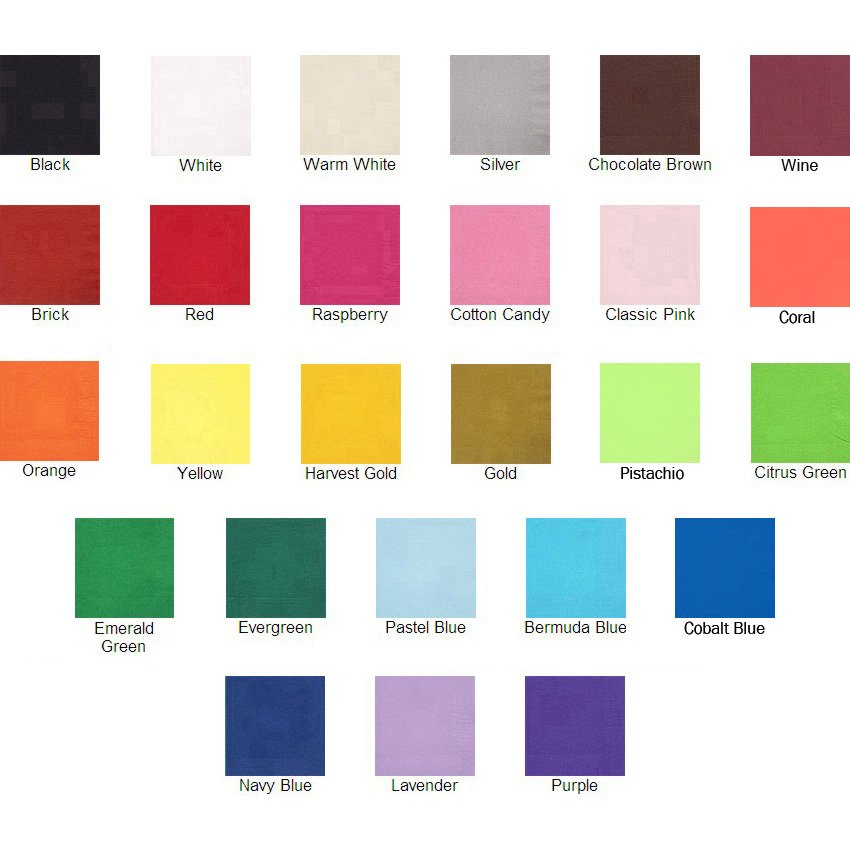 Select from assorted colors when ordering your personalized cocktail wedding or party napkins