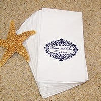 White guest towels printed with Very Navy Matte imprint color and customer supplied artwork