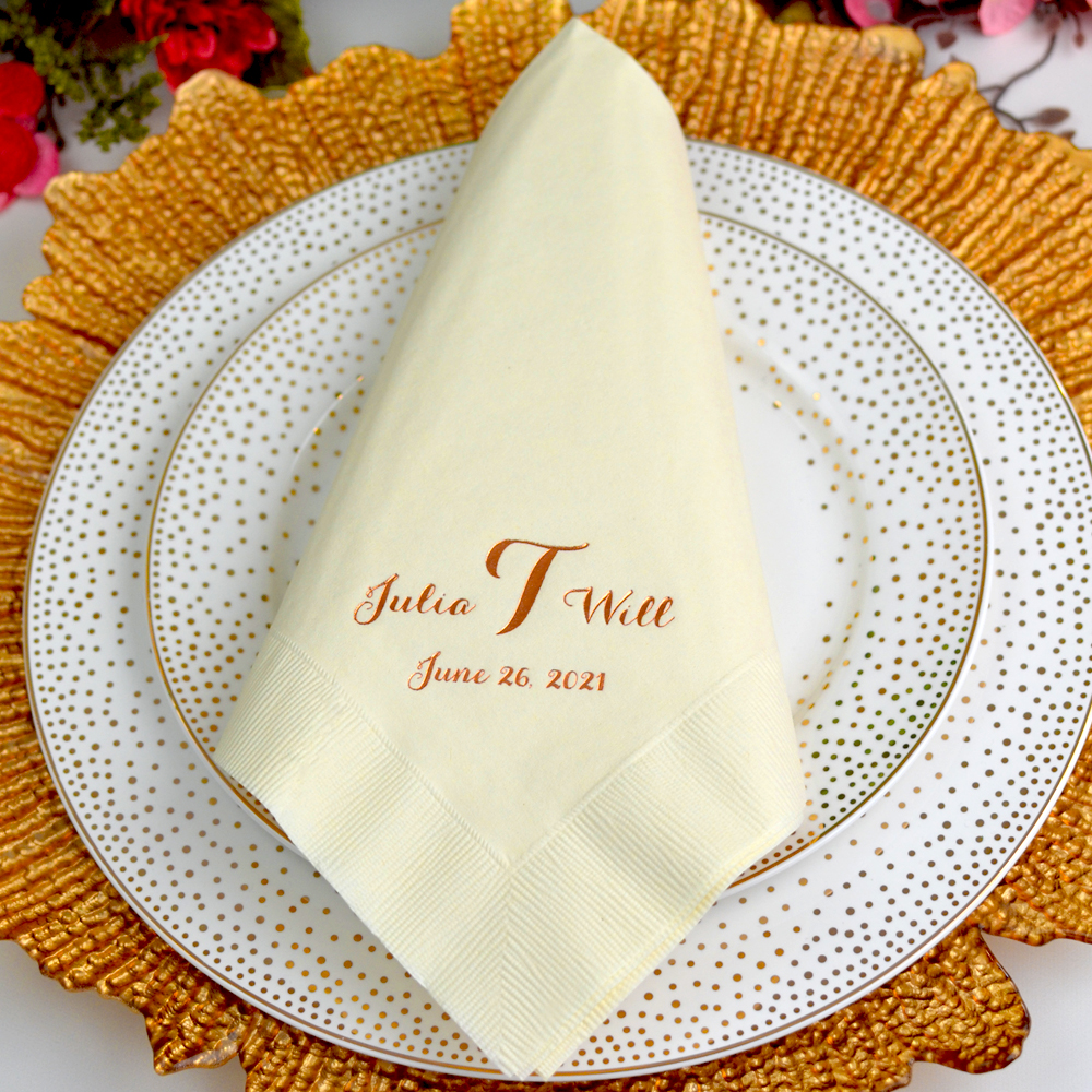 Personalized ivory 3-ply paper dinner napkins