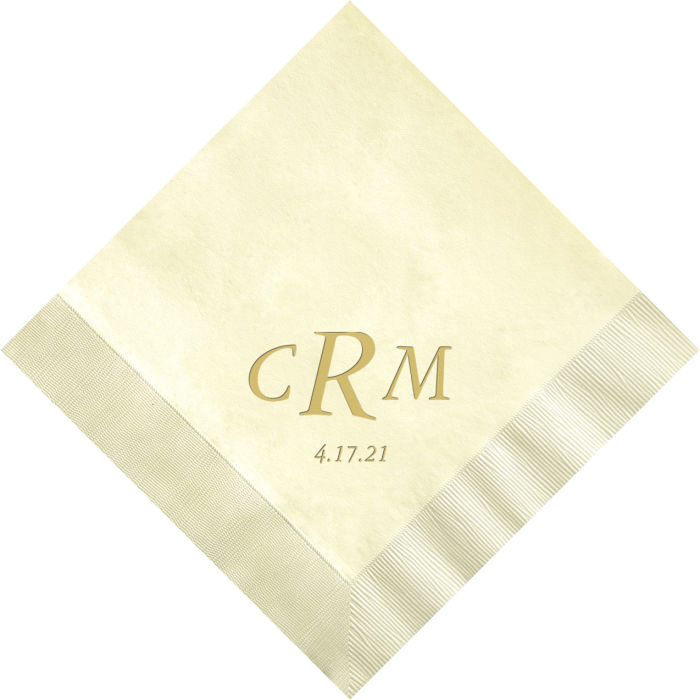 Ivory dinner napkin printed with Garamond Italic lettering style and Metallic Gold imprint color using napkin placement A, with 3-letter monogram and date