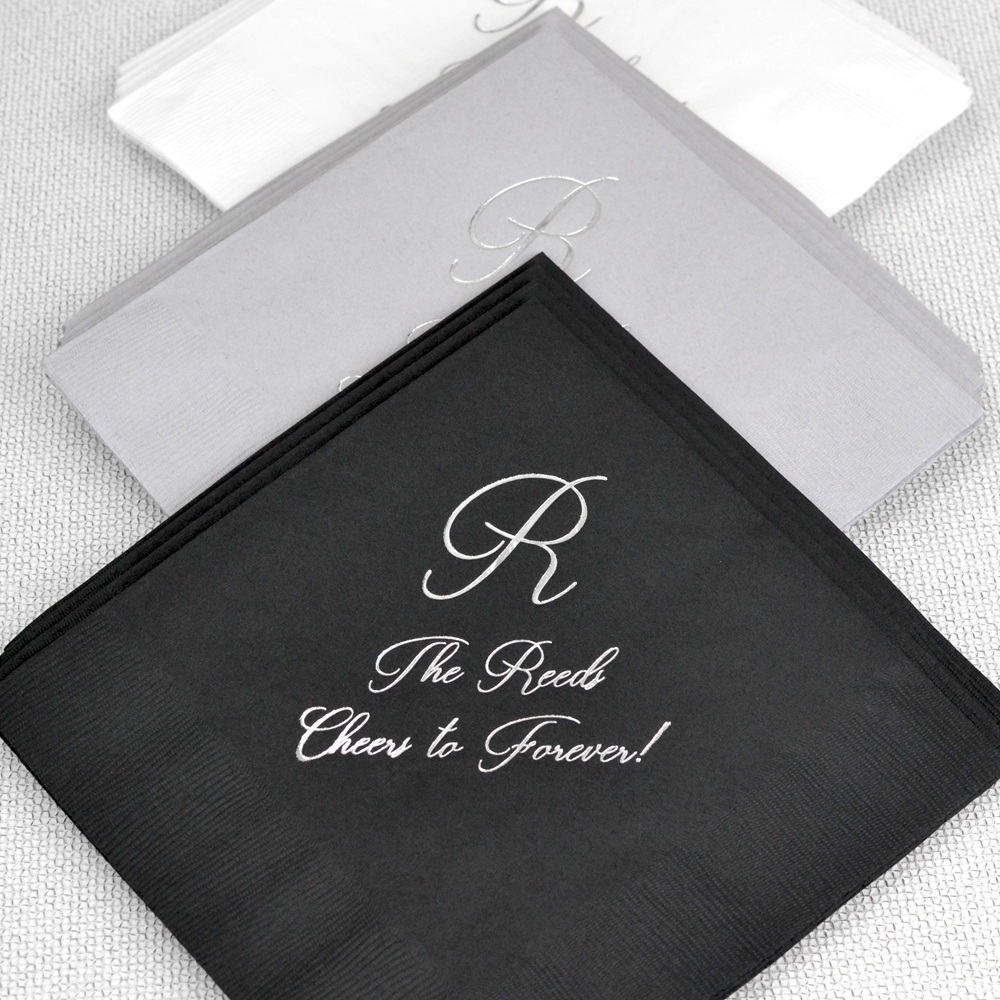 Personalized 3-Ply Paper Wedding Dinner Napkins