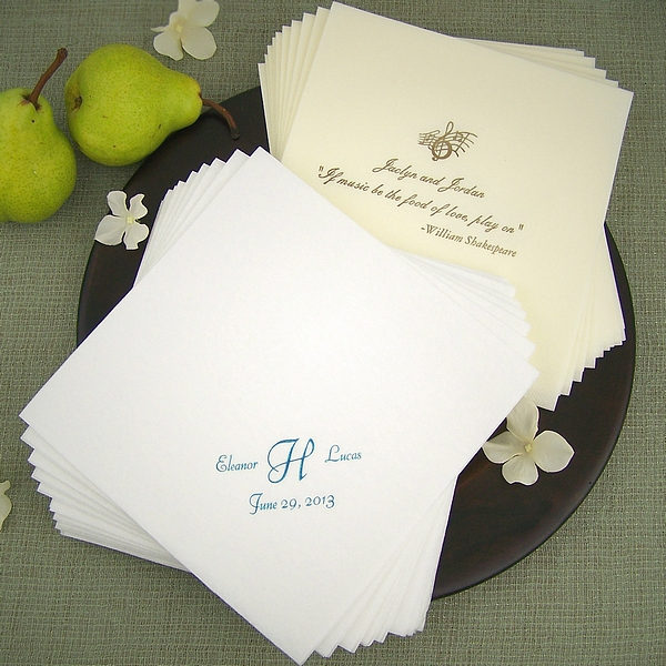 Personalized fine linen disposable dinner napkins in ivory and white
