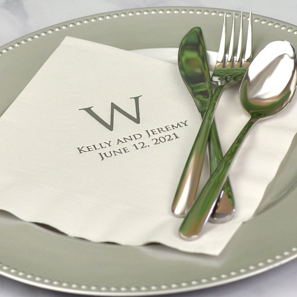 Personalized white 3-ply paper dinner napkins