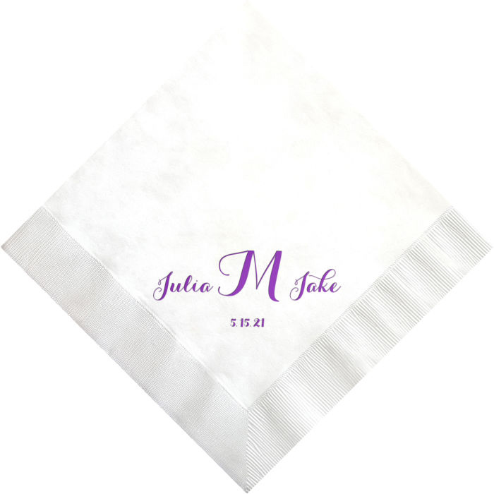 White dinner napkin printed with Plum Satin imprint color, napkin placement A, and initial between names monogram in Carolyna lettering style
