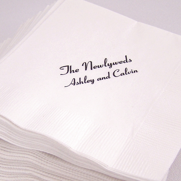 Personalized economy cocktail napkins in white or ivory
