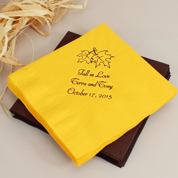 Falling Leaves Personalized Wedding Cocktail Napkins Set Of 50