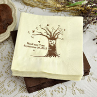 Custom printed fall theme wedding napkins