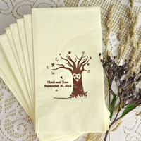 Warm white guest towel with brown imprint