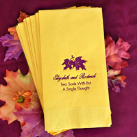 Harvest gold guest towel with chocolate matte imprint and formal script and tempo lettering styles