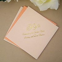 Caramel fine linen cocktail napkin printed with metallic gold imprint color, 1199 wedding design, and liberty lettering style