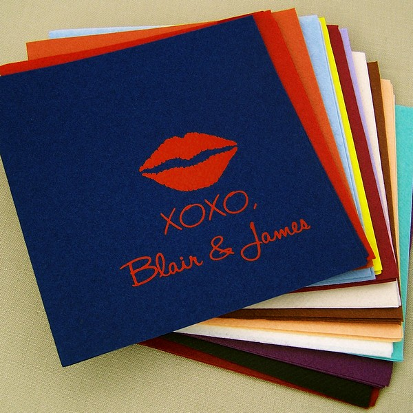 Skipper blue fine linen cocktail napkin printed with red imprint color, 1229 wedding design, emily lettering style, and bottom right napkin placement
