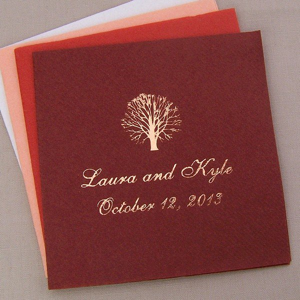 Brown fine linen cocktail napkins printed with metallic copper imprint color, 2050 alternate design, english lettering style, and center horizontal napkin placement