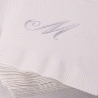 Monogrammed white 3-ply napkin gift set printed with Quill single monogram initial in Silver print color