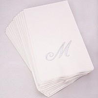 White 3-ply guest towels shown with Quill monogram style initial M and Silver print color