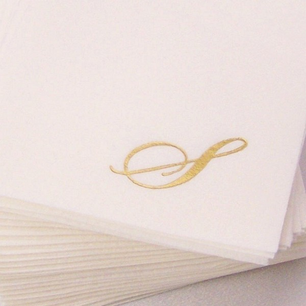 Fine linen look disposable cocktail napkin printed with single monogram S in Quill font style and Gold ink color