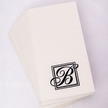 Majestic Initial Monogrammed Paper Guest Towels Pkg Of 15