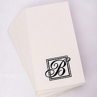 Majestic Initial monogrammed guest towels shown with initial B