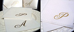 Personalized Masslinn Napkin Gift Sets printed with quill single monogram in Metallic Gold imprint