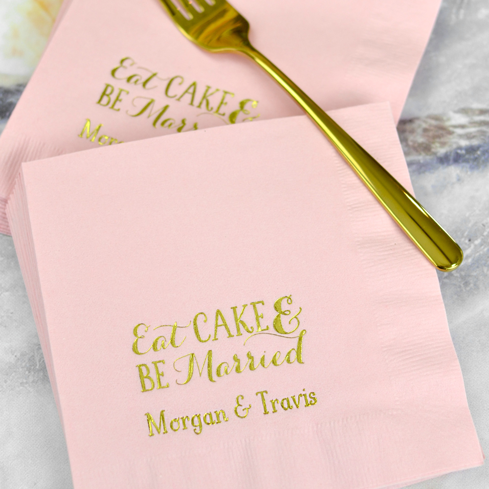 Classic Pink 3-Ply cocktail napkins with W0023 Eat Cake Be Married design and a line of custom print in Sweetheart lettering style and Metallic Gold Imprint