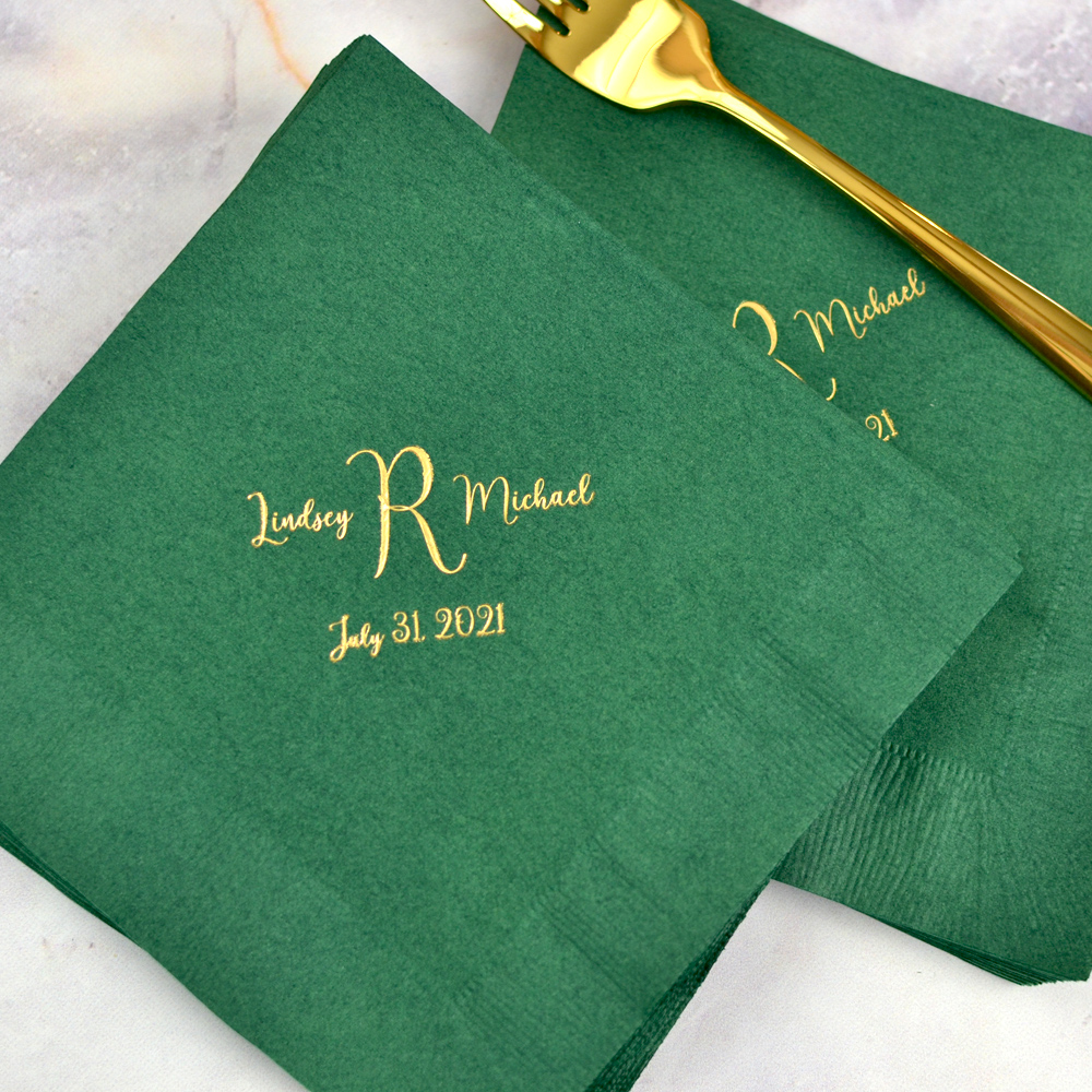 Evergreen 3-Ply beverage napkins with Initial Between Names Monogram and date in Wispy lettering style with Antique Satin imprint