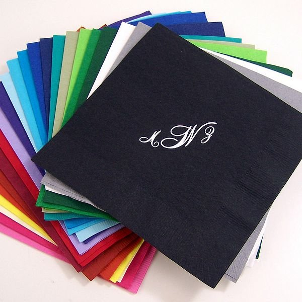 Personalized disposable paper luncheon napkins in assorted color options shown with VIP-HR1 monogram