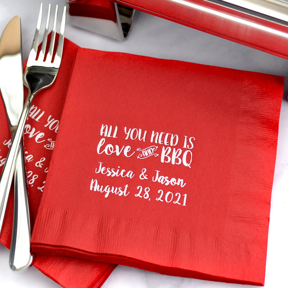 3-Ply red luncheon napkins with White Matte imprint, W0028 - Love and BBQ design, and two lines of custom print in Sugar Plum lettering style