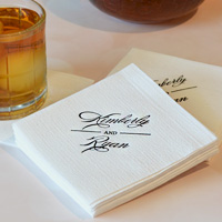 Personalized luxury linen like paper wedding beverage napkins with Black imprint and design M-52