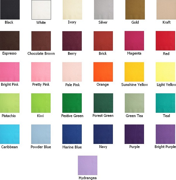 Paper cocktail napkin color options