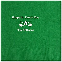 Green dinner napkin printed with IR1100 shamrock design, Americana letter style, White imprint color and Center Horizontal print placement