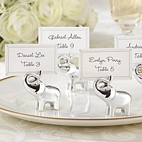 Silver Finish Lucky Elephant Place Card and Photo Holders - Set of 4