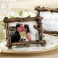 Bronze and brown tree-branch themed place card frame