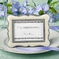 Pewter finish and pewter accented place card picture frames