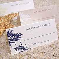 Choose Your Color Havana design place card shown in three assorted options all shown with Gill Sans letter style.