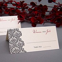 Choose Your Color Ricci Victorian design place card with mint background, black design color, and Trajan and Voluta letter styles in black and red imprint colors