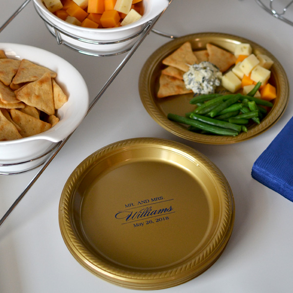 Gold appetizer and dessert plates with Navy imprint personalized with M-55 design and one line of text