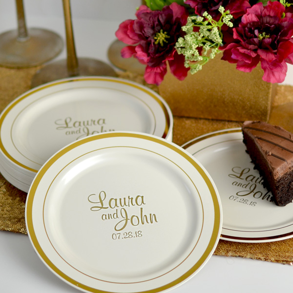 Ivory plastic party plates with gold trim personalized with M-54 design and custom text in Gold imprint color