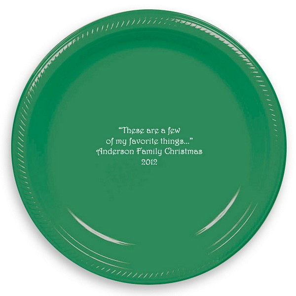 Green plastic dinner plates printed with White imprint color and four lines of text