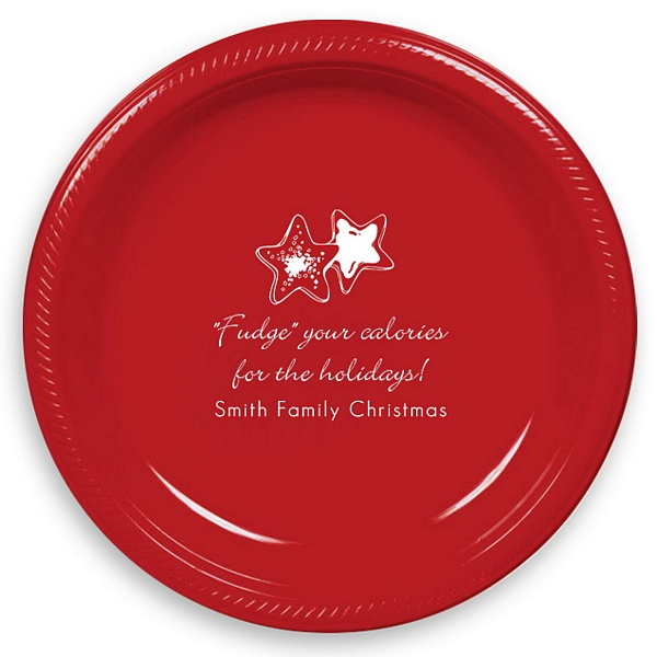 Red plastic dessert plates printed with White imprint color and 2120 holiday design