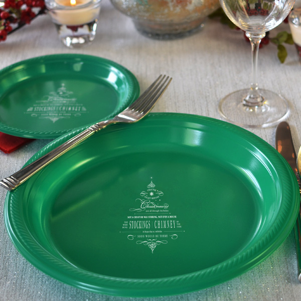 10 Inch Night Before Christmas Plastic Dinner Plates