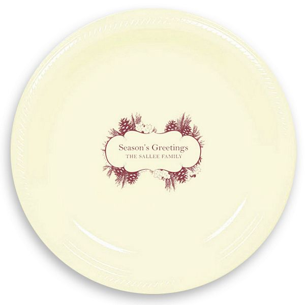 10 Inch Christmas Toile Personalized Plastic Dinner Plates