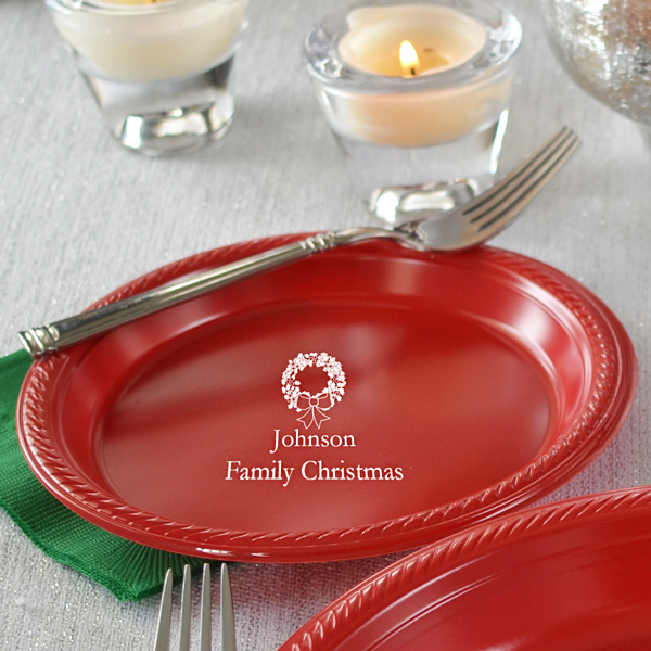 Christmas party dessert plates with your choice of design and custom print