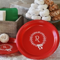 Personalized plastic Christmas dinner and dessert plates