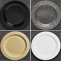 Personalized premium plastic dinner plates with ribbed fluting available in black, clear, gold and white colors