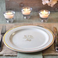 10 inch personalized plastic ivory dinner plates with gold trim