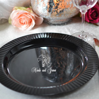 10 inch black personalized premium plastic dinner plate with fluted edge