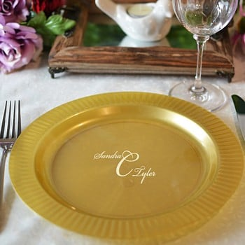 10 inch gold personalized premium plastic dinner plates with fluted edge
