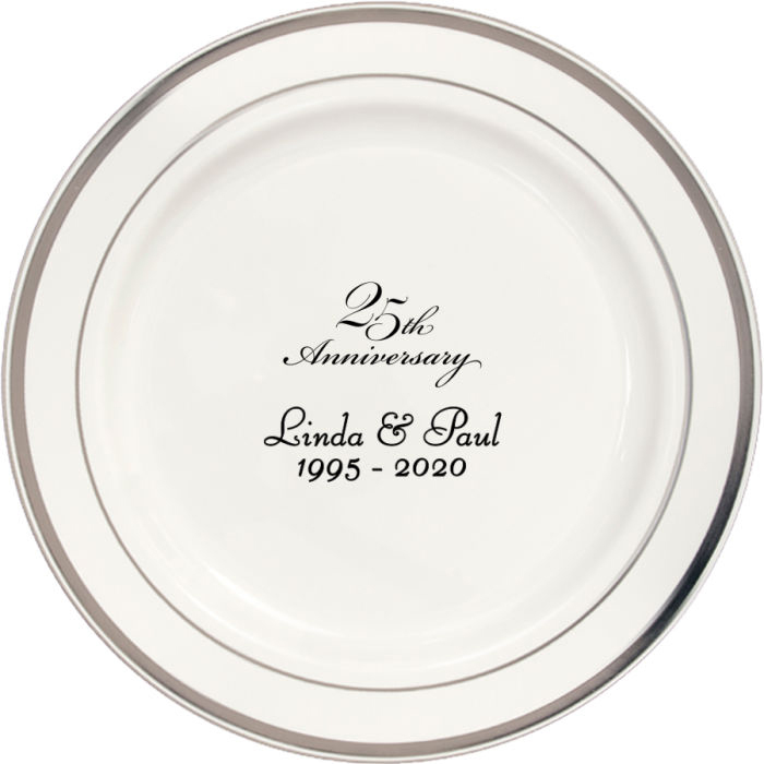7 Inch white plastic plate with silver trim personalized with 25th anniversary design and text in black imprint color