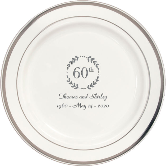 7 Inch white plastic plate with silver trim personalized with 60th anniversary design and text in silver imprint color