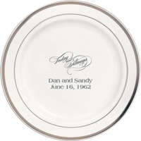7 Inch white plastic plate with silver trim personalized with today and always anniversary design and text in silver imprint color